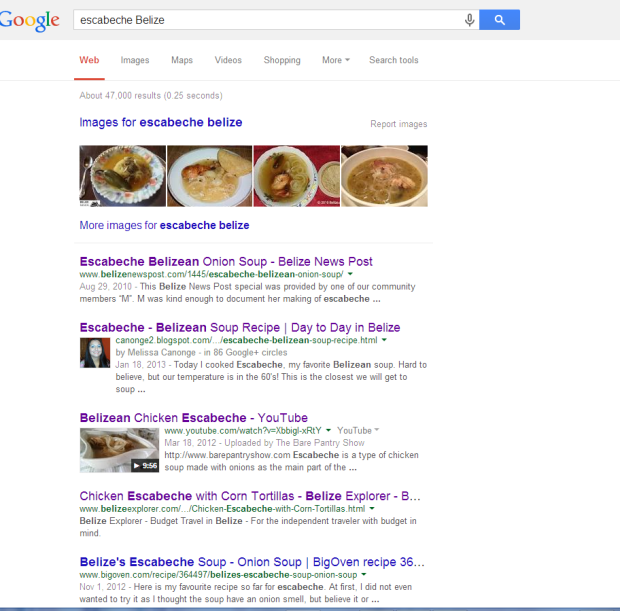 Escabeche Google results